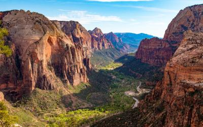 Divoký krajinný vzorec určují hluboké kaňony, s potůčky, javory, americkými topoly i kaktusy. | Zion NP