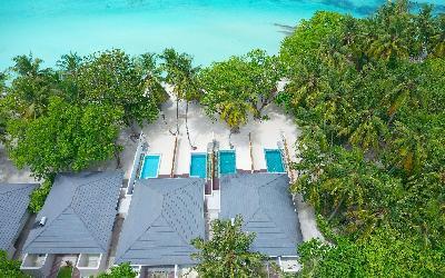 Beach Pool Villas Aerial View